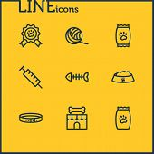 Vector Illustration Of 9 Fauna Icons Line Style. Editable Set Of Clew, Kibble, Pet Food And Other Ic poster