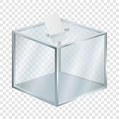 Empty Election Box Mockup. Realistic Illustration Of Empty Election Box Mockup For On Transparent Ba poster