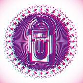 stock photo of jukebox  - Artistic retro emblem with jukebox - JPG