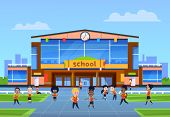 Children At School Building. Cartoon Kids In Uniformy Play In Yard In Front Of College. Back To Scho poster