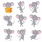 Cartoon Mouse. Gray Mice In Different Poses. Cute Wild Rat Animal Vector Characters. Wild Cute Mouse poster