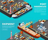 Sea Transportation Horizontal Vector Sea Freight And Shipping Banners With Isometric Seaport, Ships, poster
