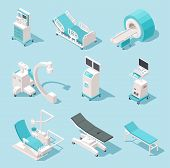 Isometric Medical Equipment. Hospital Diagnostic Tools. Health Care Technology 3d Machines Vector Se poster