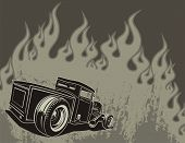 stock photo of street-rod  - Rat rod on a background with flames - JPG
