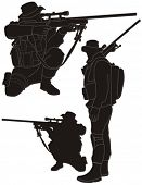 stock photo of siluet  - Sniper silhouette - JPG