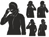 image of handphone  - Vector silhouettes of woman talking on her mobile phone - JPG