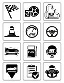 Vector racing equipment icons set. All white areas are cut away from icons and black areas merged.