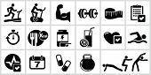 picture of bodybuilder  - Vector bodybuilding icons set - JPG