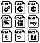 File type icons: programms & system set. All white areas are cut away from icons and black areas mer