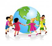 stock photo of fellowship  - children of the world holding hands - JPG