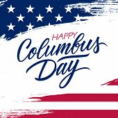 Usa Columbus Day Greeting Card With Brush Stroke Background In United States National Flag Colors An poster