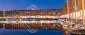 Panoramic Sunset dusk at UNESCO world heritage site the Royal Albert Dock Liverpool at Pier head in  poster