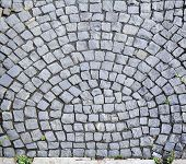 Постер, плакат: City Street Stone Pavement Top View On Cobblestoned Pavement Background Abstract Background Of Old