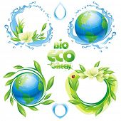Collection of ecological design elements. Vector illustration.