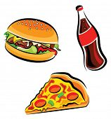 picture of junk food  - Vector illustration of various fast food  - JPG