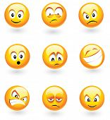 stock photo of angry smiley  - Set of nine smilies with different expressions - JPG