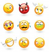 stock photo of smiley face  - Set of nine smilies with different expressions  - JPG