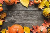 Autumn Background Fallen Maple Leaf Pumpkins Frame. Thanksgiving Day Background, Halloween Backgroun poster
