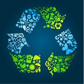 stock photo of save water  - Big eco recycle icon made out of icons - JPG
