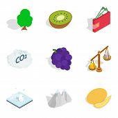 Vital Energy Icons Set. Isometric Set Of 9 Vital Energy Icons For Web Isolated On White Background poster