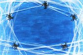 Halloween Background. Spider Web And Spiders As The Symbols Of Halloween On The Dark Blue Wooden Bac poster