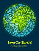 foto of save earth  - Save our Earth blue and green poster template - JPG
