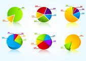 image of pie chart  - Set of colorful business charts - JPG
