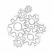 Mechanical Gears Vector Sketch Illustration. Cooperation Concept Hand Drawn Engine System With Outli poster