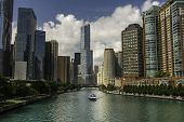 A View Of The Beautiful Chicago Skyline From Above The Chicago River. poster