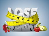 stock photo of tape-measure  - Lose weight text with measure tape and fruits - JPG