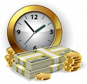 image of bundle money  - Office Clock and money - JPG