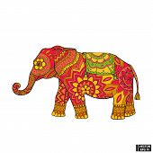 Vector Image. The Elephant Icon Is A Symbol Of India. Colored Elephant In Floral Patterns. poster