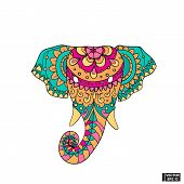 Vector Image. The Elephant Icon Is A Symbol Of India. Colored Head Elephant In Floral Patterns. poster