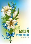 image of easter lily  - Wonderful spring bouquet with lilies and forget - JPG