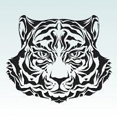 picture of wildcat  - Tiger head black silhouette  - JPG