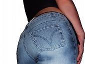 image of tanga  - female rear in jeans - JPG