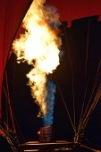 Bright Shining Flames Of A Burner Of A Red Hot Air Balloon, Burner With A Extreme Hot Flame Light Up poster