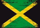 pic of reggae  - Jamaican grunge flag  An old  jamaican flag whith a texture - JPG
