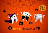 Funny Cute Cartoon Tooth Character. Witch, Mummy And Dracula In Moon Night. Happy Halloween Concept. poster