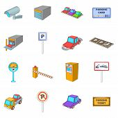 Parking Items Icons Set. Cartoon Illustration Of 16 Parking Items Icons For Web poster