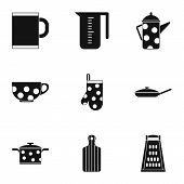 Dining Items Icons Set. Simple Illustration Of 9 Dining Items Icons For Web poster