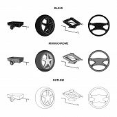 Caravan, Wheel With Tire Cover, Mechanical Jack, Steering Wheel, Car Set Collection Icons In Black,  poster