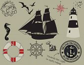 stock photo of taupe  - Nautical design elements - JPG