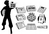 foto of newsboy  - News icons and design elements - JPG