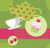 image of tea party  - Vector illustration of tea party set - JPG