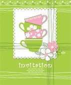 foto of tea party  - card with cups - JPG
