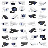 Cctv Security Camera. Large Collection Of Black And White Surveillance Devices. Vector 3d Illustrati poster