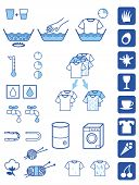 stock photo of laundromat  - Set of symbols for detergent powder instructions - JPG