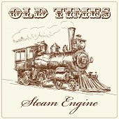 stock photo of locomotive  - hand drawn steam locomotive - JPG