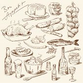 stock photo of drawing beer  - big collection of hand drawn food - JPG